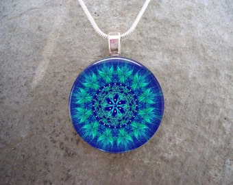 Mandala jewelry - Glass Pendant Necklace - Mandala 42
