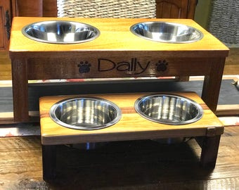 Hand made wood Dog or Cat feeding station