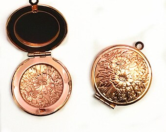 2pc Rose Gold Tone Photo Locket Setting Frame Pendants-8293D