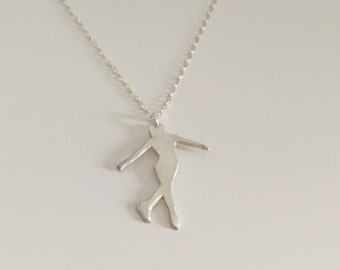 Ice skater pendant made of fine silver with sterling silver chain