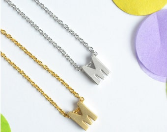 Upper Case letter 'M' Initial Necklace | Letter M Necklace | Personalized Gift | Little Wren