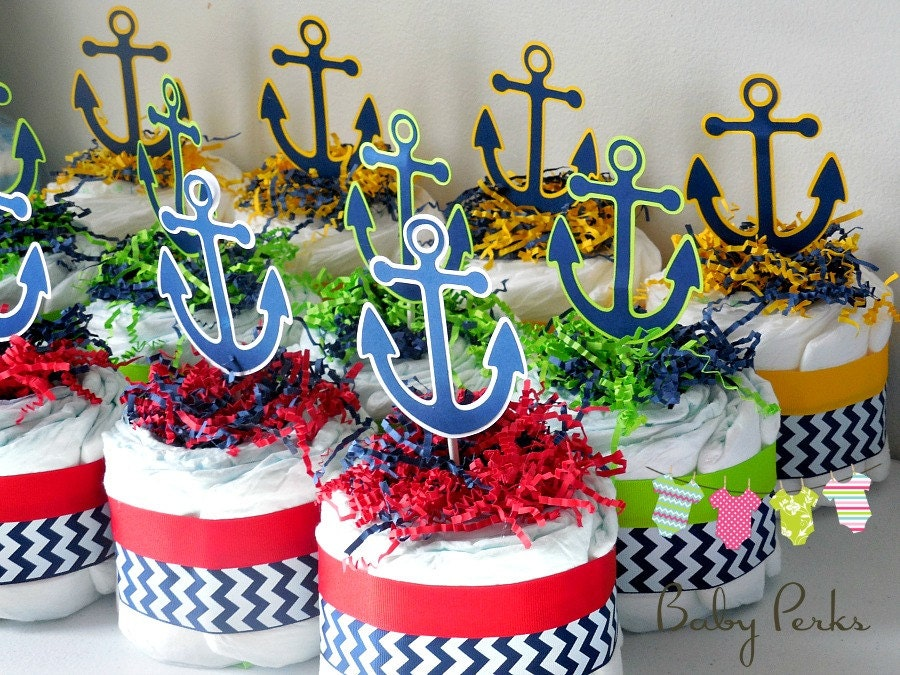 4 Mini Nautical Diaper Cake Nautical Baby Shower Sailboat