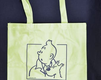 The Adventures of Tintin reuseable green / blue shopping bag/tote small