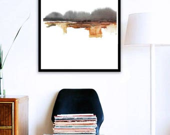 Big Art, Big Painting, Modern Landscape Art, Abstract Watercolor, Rust Brown Watercolor, Landscape Print, Large Wall Art, Large Modern Decor
