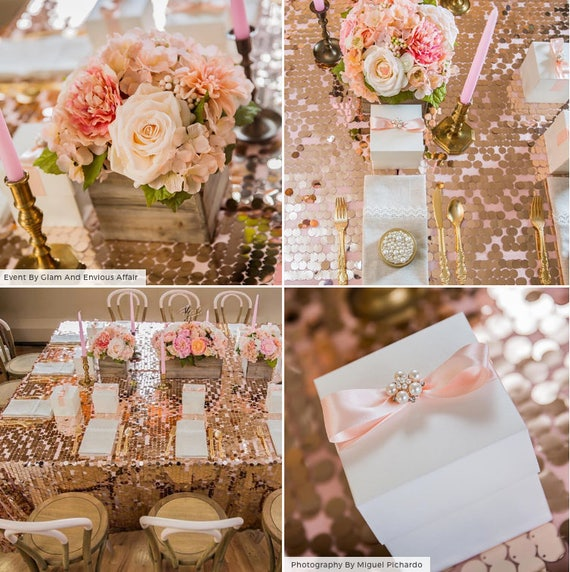Sequin Tablecloths Rose Gold Champagne Silver