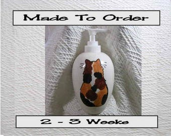 Calico Cat Ceramic Pottery Soap Dispenser Lotion Bottle Handmade To Order by Gracie