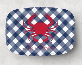 Low Country Seafood Boil Personalized Platter  Coastal Decor  Monogrammed Melamine Platter, Crab Platter, New England Style Platter