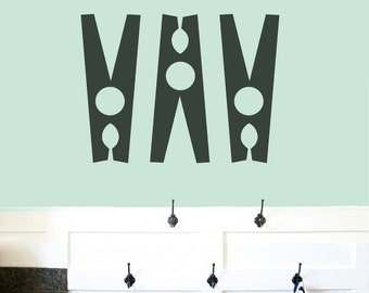 Set Of Clothespins - Bathroom & Laundry Room Wall Decals