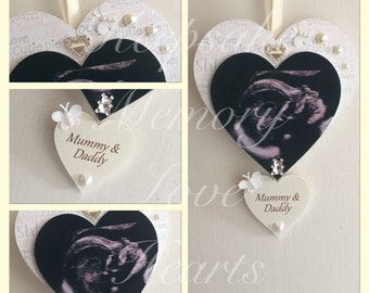 Pregnancy reveal to grandparents gift personalised wooden keepsake heart in pink, blue or cream