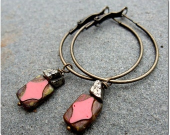 Charity Donation -- Bronze and Czech Glass Hoop Earrings -- Donation to Philabundance
