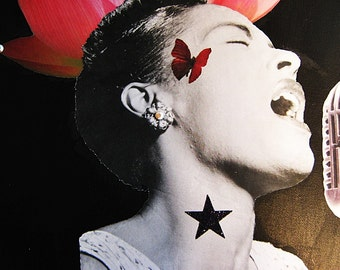 Collage on Canvas, Mixed Media Art, Collage, Billie Holiday, LADY DAY, Black History Month, Black Art, Oval Shaped