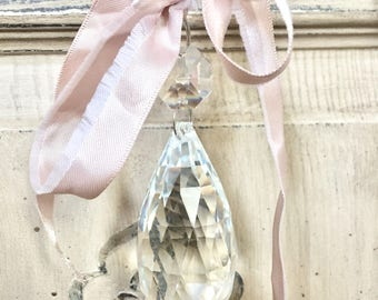 Crystal chandelier ornament, glass chandelier ornament, shabby chic ornament, christmas ornament, french chandelier ornament, vintage french