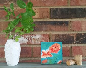 """Abstract Poppies teal blue and orange flowers -5""""x5"""" Original Acrylic Painting on canvas"""