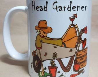 Head gardener mug, under gardeners mug, gardener present, gardener gifts