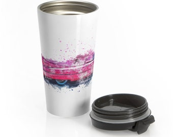 Travel Mug Hand Drawn Pink Cadillac Stainless Steel Insulated Car Enthusiast Gift