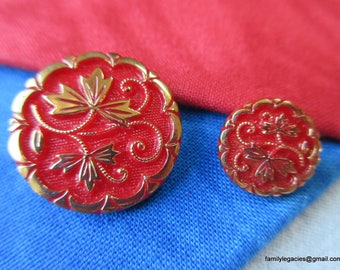 0212 - Two Mother-Daughter Vintage Red Glass Buttons, Leaf Motif, Gold Luster