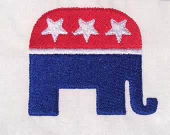 Republican Elephant Machine Embroidery Design GOP