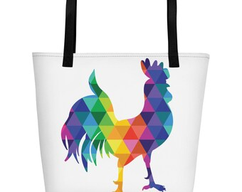 Tote Bag Colors Of The Rainbow The Rockin' Rooster Beach Bag Rainbow Rooster Gift