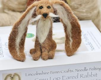 Rabbit needle felting kit, Needle felted brown lop eared rabbit, Easter bunny craft kit, Easter crafts, Bunny felt kit