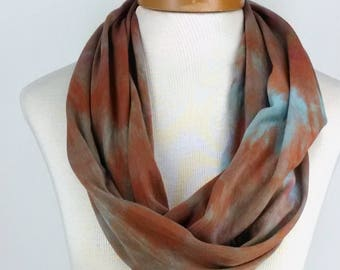 Bronze with Blue Infinity Scarf, Bamboo Jersey Scarf, Hand Dyed Scarf, Neck Wrap