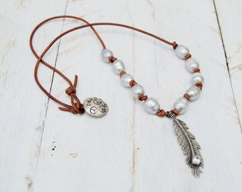 Feather Sterling Necklace. CZ Stone . Grey Freshwater Pearls . Rustic . Earthy . Boho .