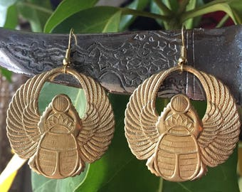 WINGED SCARAB Earrings ancient egypt kemet egyptian khemet jewelry