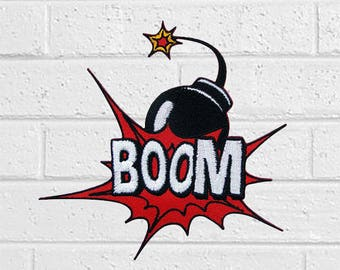 Bomb Boom Patch - Stuff Patch - Iron On Patches - Patches for Jackets, Jeans , Cap - Cool Badge Size 3.8 cm (W) x 4.1 cm (H)