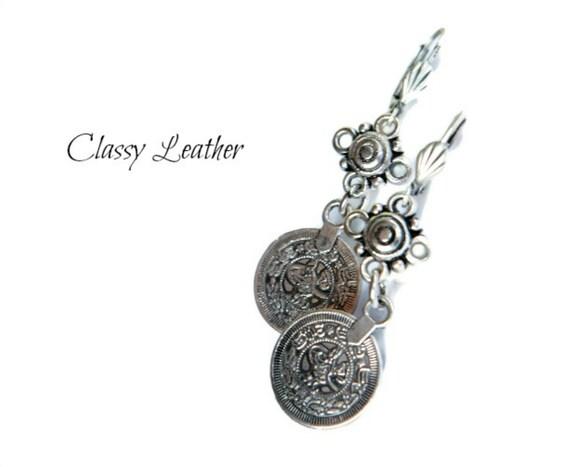 Boho  dangle earrings -  bohemian Dangle Earrings  - coin dangle earrings - women accessories