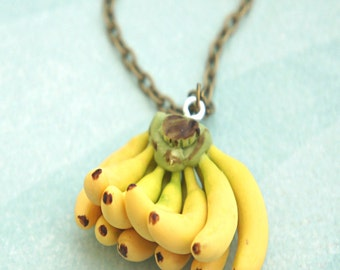 banana necklace- food jewelry, fruit necklace, tropical fruit, banana bunch necklace