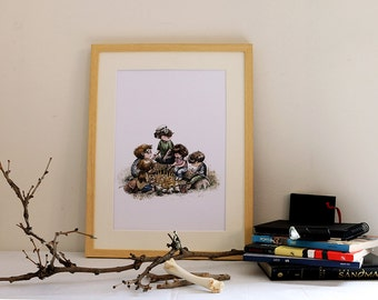 Print. Blade to watercolor. The fire in the forest