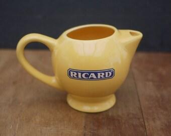 Original french Ricard Yellow Ceramic Pitcher, Water Jug. Vintage barware