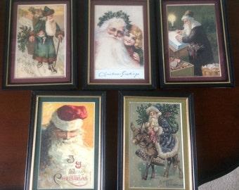 Lot of 5 Reproduction Vintage Framed Christmas Postcards