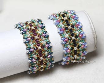 PDF Tutorial - Gentiana Bracelet Beadweaving Instruction Beading Pattern Instant download