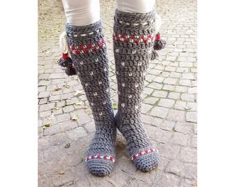Lillehammer Knee-High Socks Crochet Pattern - Instant Download Pdf