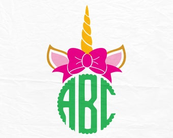 Unicorn Bow Monogram SVG, Unicorn Monogram Svg, Unicorn SVG, Silhouette Cut Files, Cricut Cut Files, Svg Cut Files