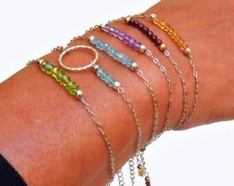 Bracelet violet Améthyste - Argent 925, chaine fine, pierres fines naturelles, semi précieuses, bijou artisanal