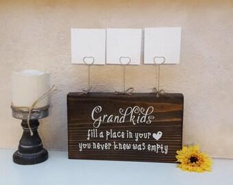 Grandkids Picture Holder - Farmhouse Grandkids Sign - Grandparent Gift - Rustic Photo Display - Grandmother Gift - Grandkids