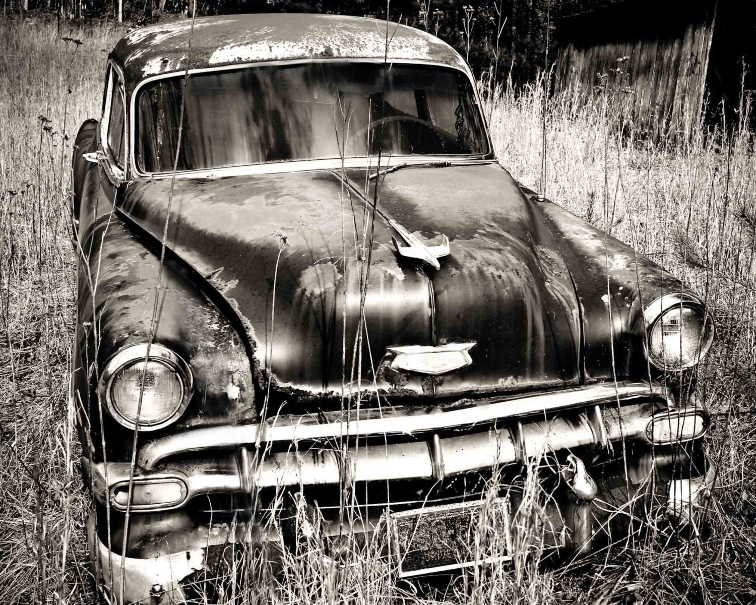 Old Chevy Car Art Black and White Photography Print Wall
