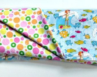 Surfer Girl and Dots  Baby Blanket, Large and Doublesided
