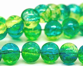 10 x 8 mm yellow/green Crackle Glass round beads