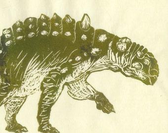 Euoplocephalus linocut - Hard-headed Vegetarian Dinosaur Lino Block Print Ankylosaur Euoplocephalus Art Print