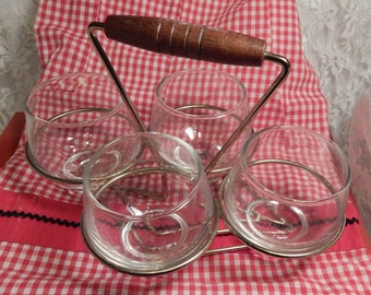 1950s-60s Libbey Glassware Condiment Set of 4 in Metal Caddy Tray with Wooden Handle