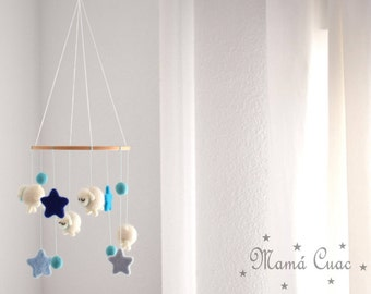 Children's mobile, Cradle mobile, Felted wool mobile, Felted wool sheep, Cradle decoration, Waldorf, Felt stars, Felted wool