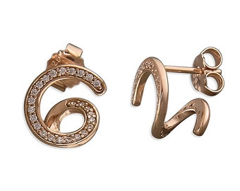Rose Gold Plated Cubic Zirconia Swirl Behind The Ear Sterling Silver Stud Earring