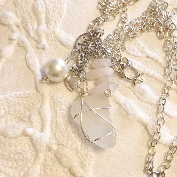 Dangle Charm Necklace with Sea Glass, Real Pearls, Rose Quartz Points, Silver Plated Charms, Swarovski Crystal and Silver Chain, June Gift