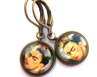 Frida Kahlo Earrings Boho Day of the Dead Dia de los Muertos Glass and Antiqued Brass Fashion Jewelry