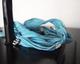 Adjustable Bracelet -  Silk Ribbon Wrap Bracelet - Sport Bracelet - Yoga Wrap Bracelet - Turquoise Koi #6-001