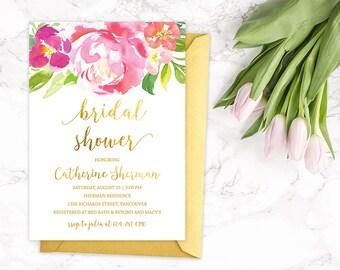 Bridal Shower Invitation Printable, Floral Bridal Shower Invitations, Wedding Shower Invitation, Pink Gold Bridal Shower Invitation Template
