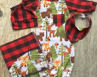 Woodland baby gown set, buffalo plaid outfit, baby shower gift, going home outfit, baby boy gown, rustic nursery, hospital gown