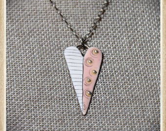 Blushing Heart - enameled copper, graphite and silver hand cut heart necklace